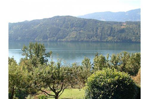 Blick vom Parkplatz über den See