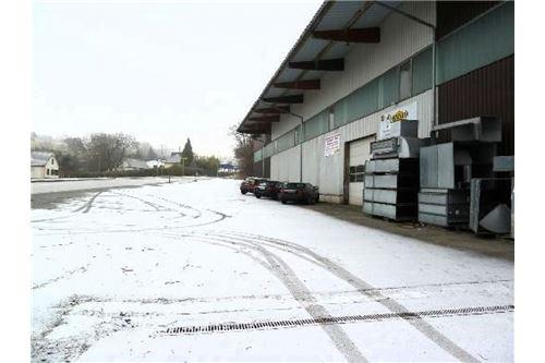 Halle Außenansicht  + Parkplätze